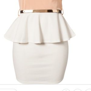 White peplum belt